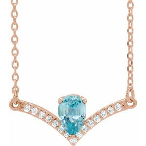 "14K Rose Blue Zircon & .06 CTW Diamond 18"" Necklace"