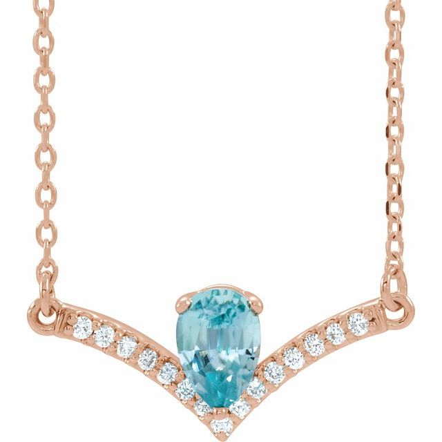 14K Rose Blue Zircon & .06 CTW Diamond 18