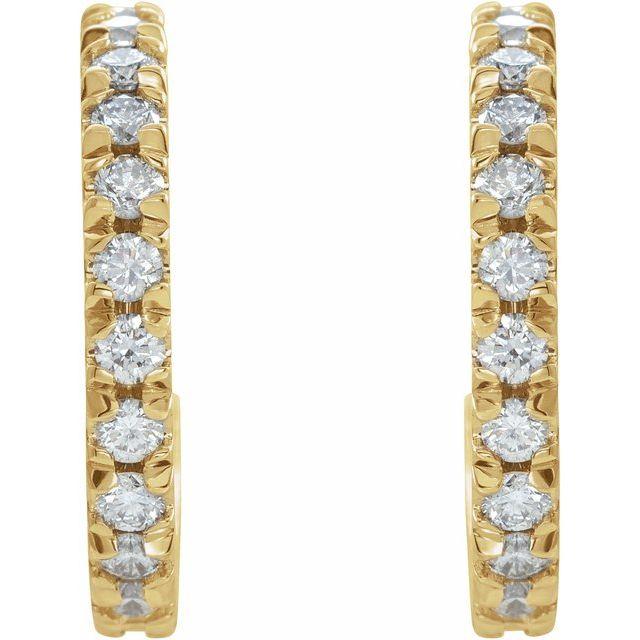 14K Yellow 5/8 CTW Diamond French-Set 15 mm Huggie Earrings