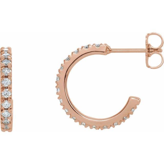 14K Rose 5/8 CTW Diamond French-Set 15 mm Huggie Earrings