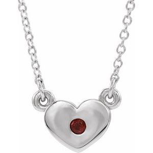 "14K White Mozambique Garnet Heart 16"" Necklace"