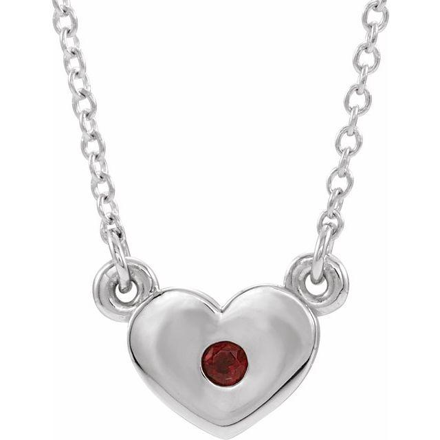 14K White Mozambique Garnet Heart 16
