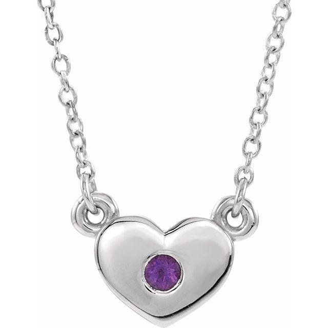 14K White Amethyst Heart 16