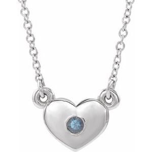 "14K White Chatham® Created Alexandrite Heart 16"" Necklace"