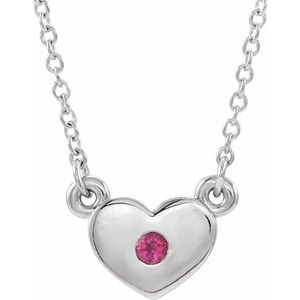 "14K White Pink Tourmaline Heart 16"" Necklace"