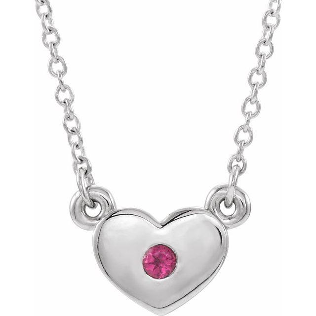 14K White Pink Tourmaline Heart 16