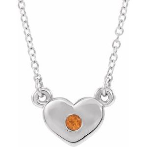 "14K White Citrine Heart 16"" Necklace"