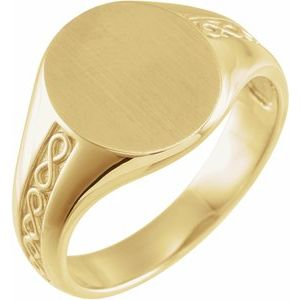 14K Yellow 15 mm Round Signet Ring