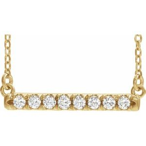 "14K Yellow 1/4 CTW Diamond French-Set Bar 16"" Necklace"