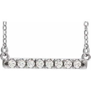"14K White 1/4 CTW Diamond French-Set Bar 16"" Necklace"