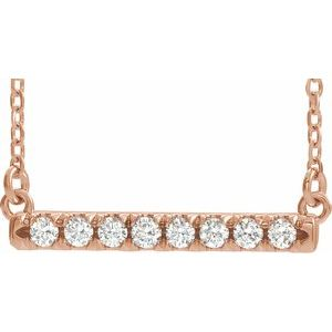 "14K Rose 1/2 CTW Diamond French-Set Bar 16"" Necklace"