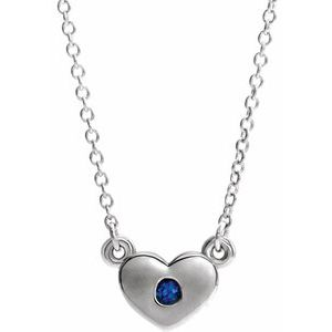 "Sterling Silver Chatham® Created Blue Sapphire Heart 16"" Necklace"