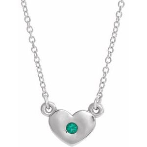 "14K White Chatham® Created Emerald Heart 16"" Necklace"