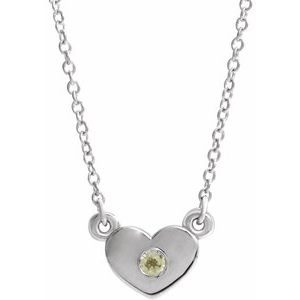 "14K White Peridot Heart 16"" Necklace"