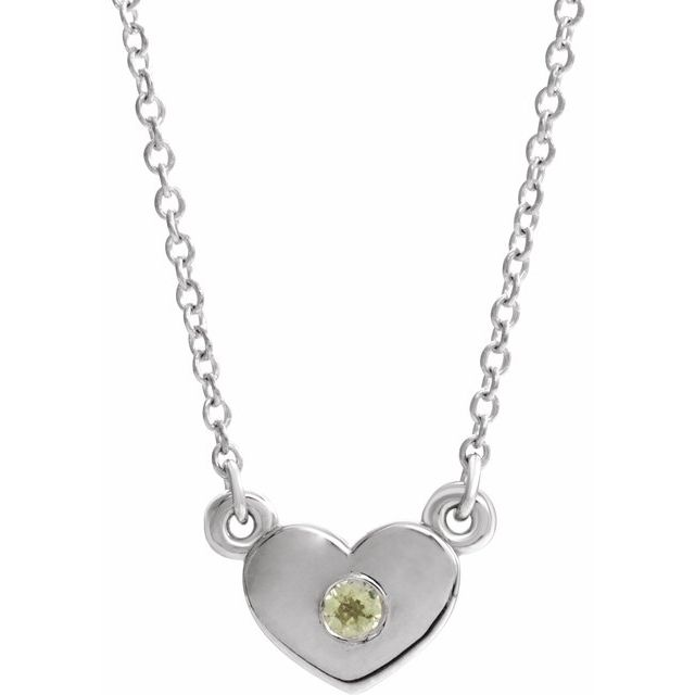 14K White Peridot Heart 16