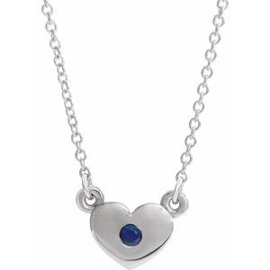 "Sterling Silver Blue Sapphire Heart 16"" Necklace"