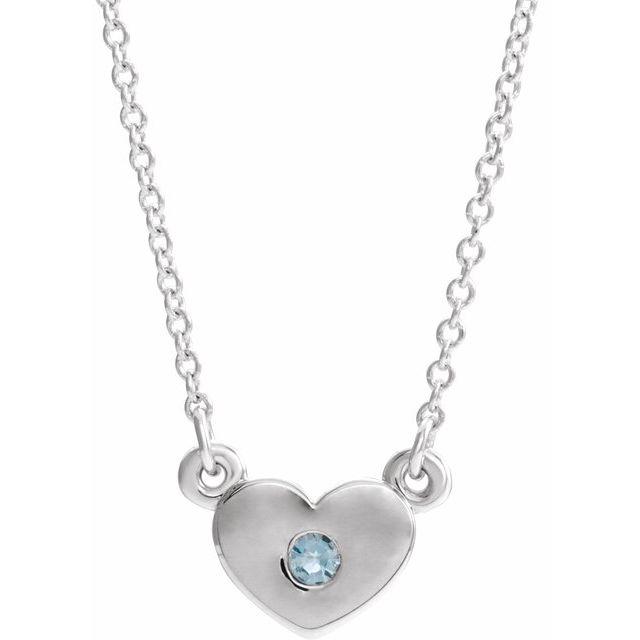 Sterling Silver Aquamarine Heart 16