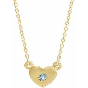 "14K Yellow Aquamarine Heart 16"" Necklace"
