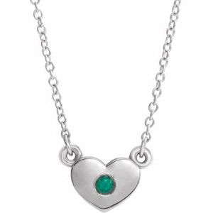"14K White Emerald Heart 16"" Necklace"