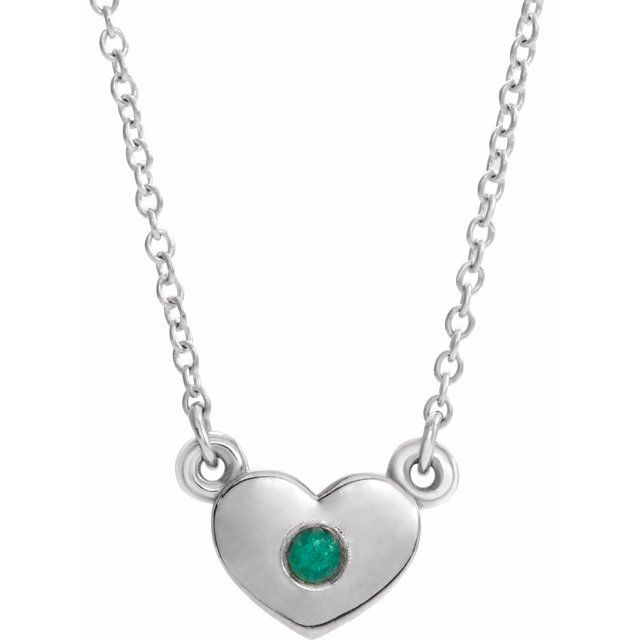 14K White Emerald Heart 16