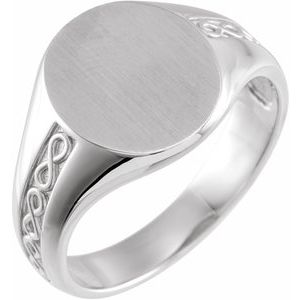 14K White 15 mm Round Signet Ring
