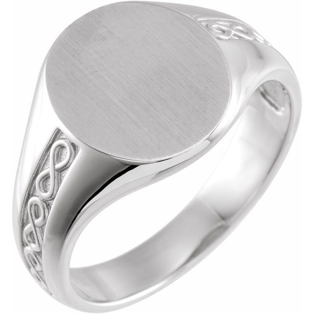 Sterling Silver 15 mm Round Signet Ring