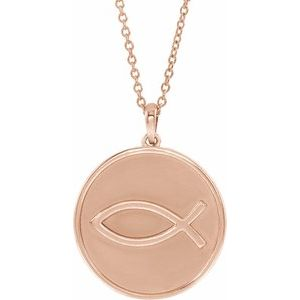 """14K Rose 20.3x18.4 mm Ichthus (Fish) 16-18"""" Necklace"""