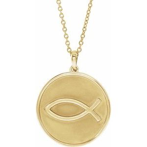 "14K Yellow 20.3x18.4 mm Ichthus (Fish) 16-18"" Necklace"