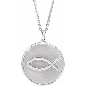 "Sterling Silver 20.3x18.4 mm Ichthus (Fish) 16-18"" Necklace"