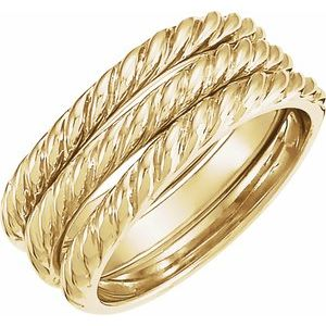 14K Yellow Twisted Rope Stackable Band - Set of 3