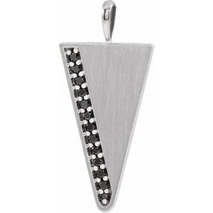 14K White 1/5 CTW Black Diamond Triangle Pendant