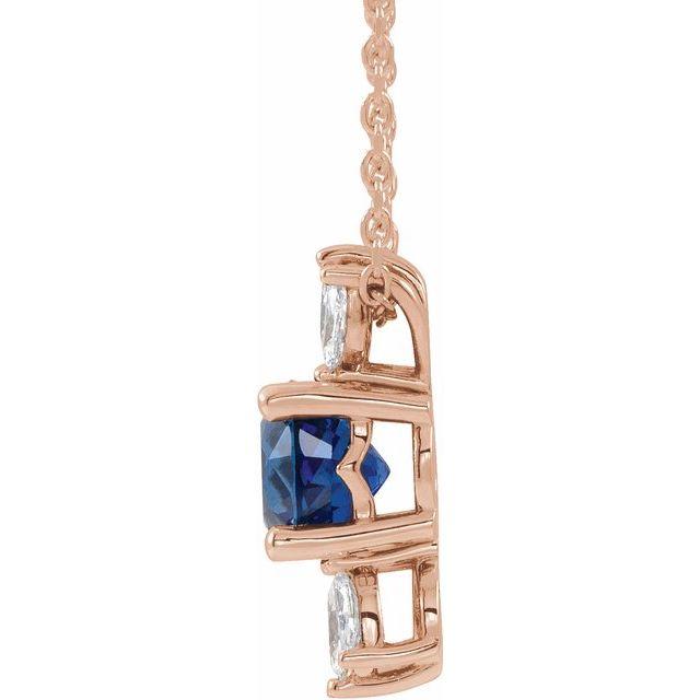 14K Rose Natural Blue Sapphire & 1/5 CTW Natural Diamond 16-18
