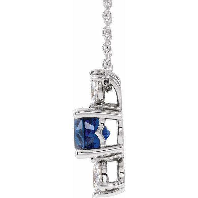 14K White Blue Sapphire & 1/4 CTW Diamond 16-18