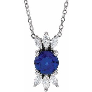 "14K White Blue Sapphire & 1/4 CTW Diamond 16-18"" Necklace"