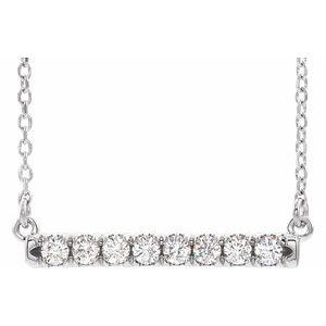 "14K White 1/2 CTW Lab-Grown Diamond French-Set Bar 16-18"" Necklace"