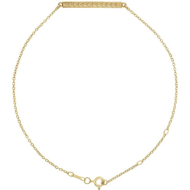14K Yellow Patterned Bar Bracelet