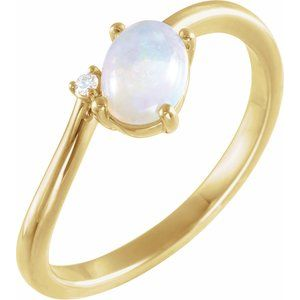 14K Yellow Ethiopian Opal & .015 CT Diamond Bypass Ring