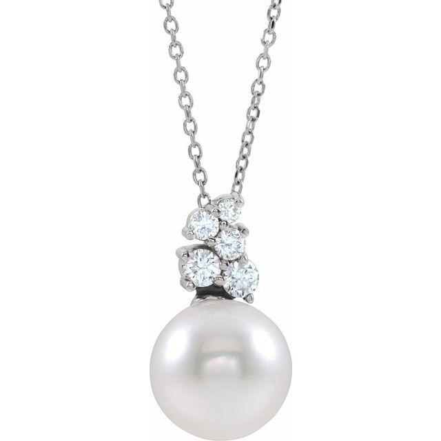 14K White Freshwater Cultured Pearl & 1/4 CTW Diamond 16-18