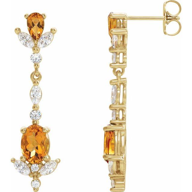 14K Yellow Citrine and 3/4 CTW Diamond Earrings