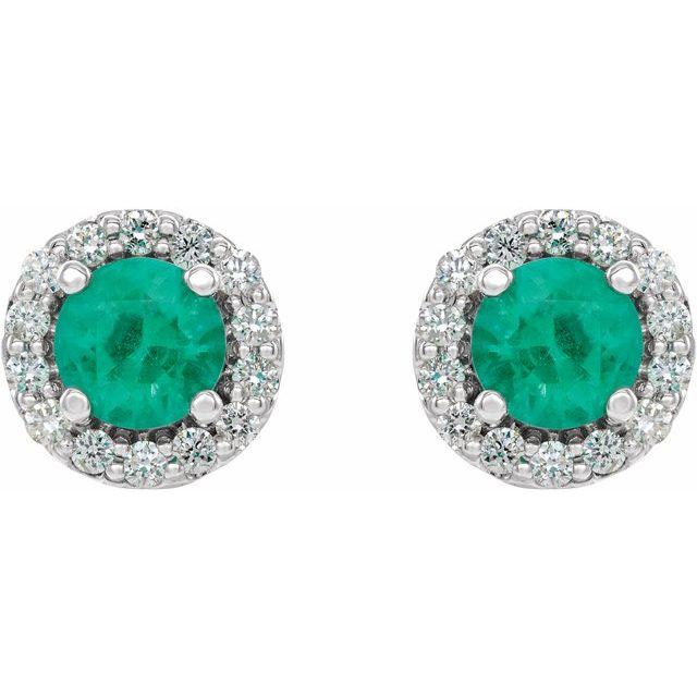 14K White 4 mm Round Emerald & 1/8 Diamond Earrings