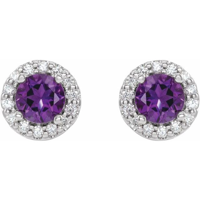 14K White 4 mm Natural Amethyst & 1/8 CTW Natural Diamond Earrings