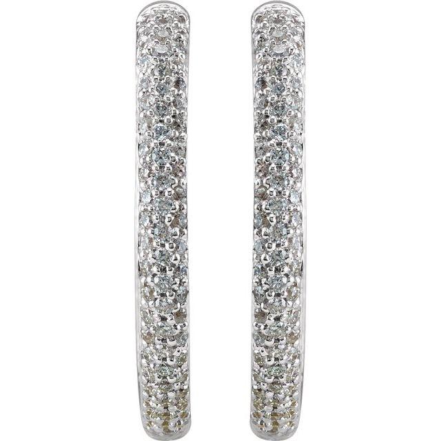 18K White 1 CTW Diamond Inside-Outside Hinged 24 mm Hoop Earrings