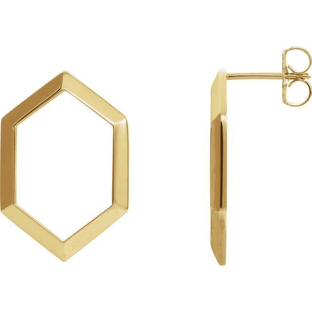 14K Yellow Geometric Drop Earrings