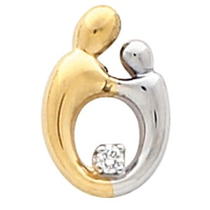 14K Yellow/White .03 CT Diamond Mother and Child® Slide Pendant