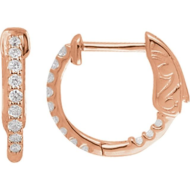 14K Rose 1/4 CTW Diamond Inside-Outside 14.5 mm Hoop Earrings