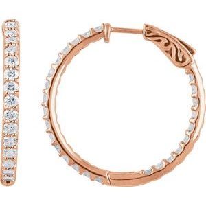 14K Rose 2 CTW Diamond Inside-Outside 29.5 mm Hoop Earrings