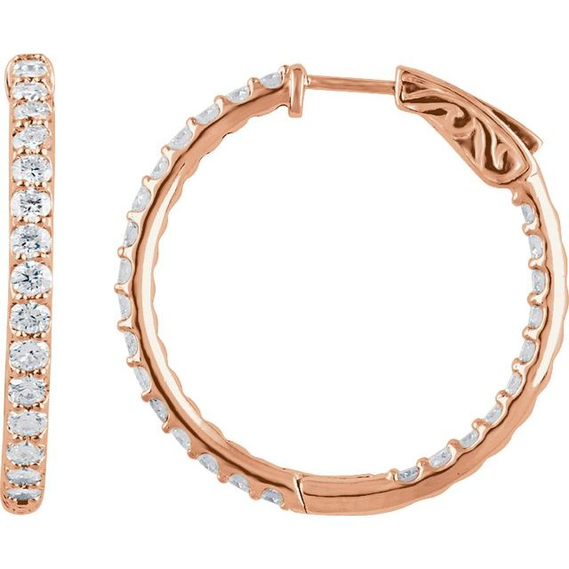 14K Rose 2 CTW Diamond Inside-Outside 29.5 mm Hoop Earrings