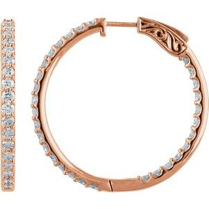 14K Rose 3 CTW Diamond Inside-Outside 34.5 mm Hoop Earrings