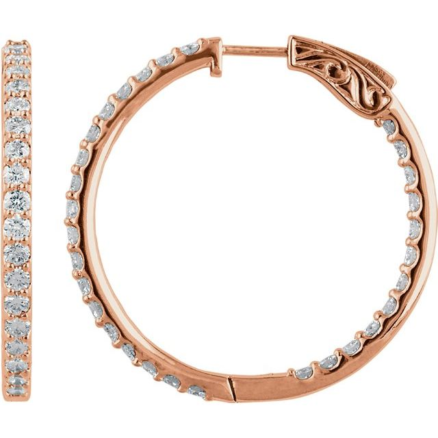 14K Rose 34.5 mm 3 CTW Natural Diamond Inside-Outside Hinged Hoop Earrings