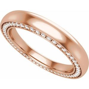 14K Rose 3 mm 1/2 CTW Diamond Band Size 7